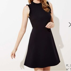 LOFT Black Ponte Ruffle Trim Ponte Flare Dress 4